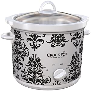Crock-Pot 3-Quart Manual Slow Cooker White Black Damask