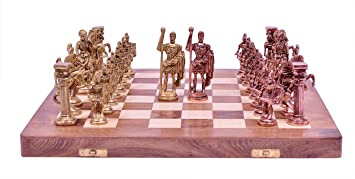 Statue Solution Chess Set with Brass Sculpted Pieces in Ancient Roman Style and Wooden Board Board Game