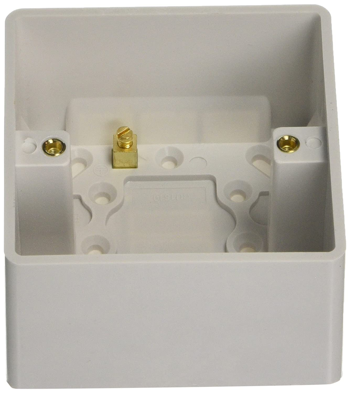 Knightsbridge CU1610 Curved Edge Single Pattress Box with Earth Terminal and Cable Strain Relief, White, 47 mm MLA