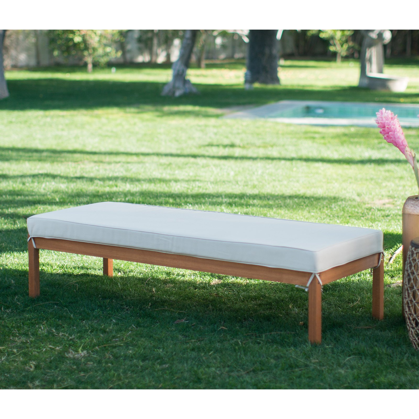 Relaxed, Island Design Brighton Eucalyptus Wood Outdoor Rectangular Daybed Ottoman Comes In Natural finish With Cream Cushion by Belham Living