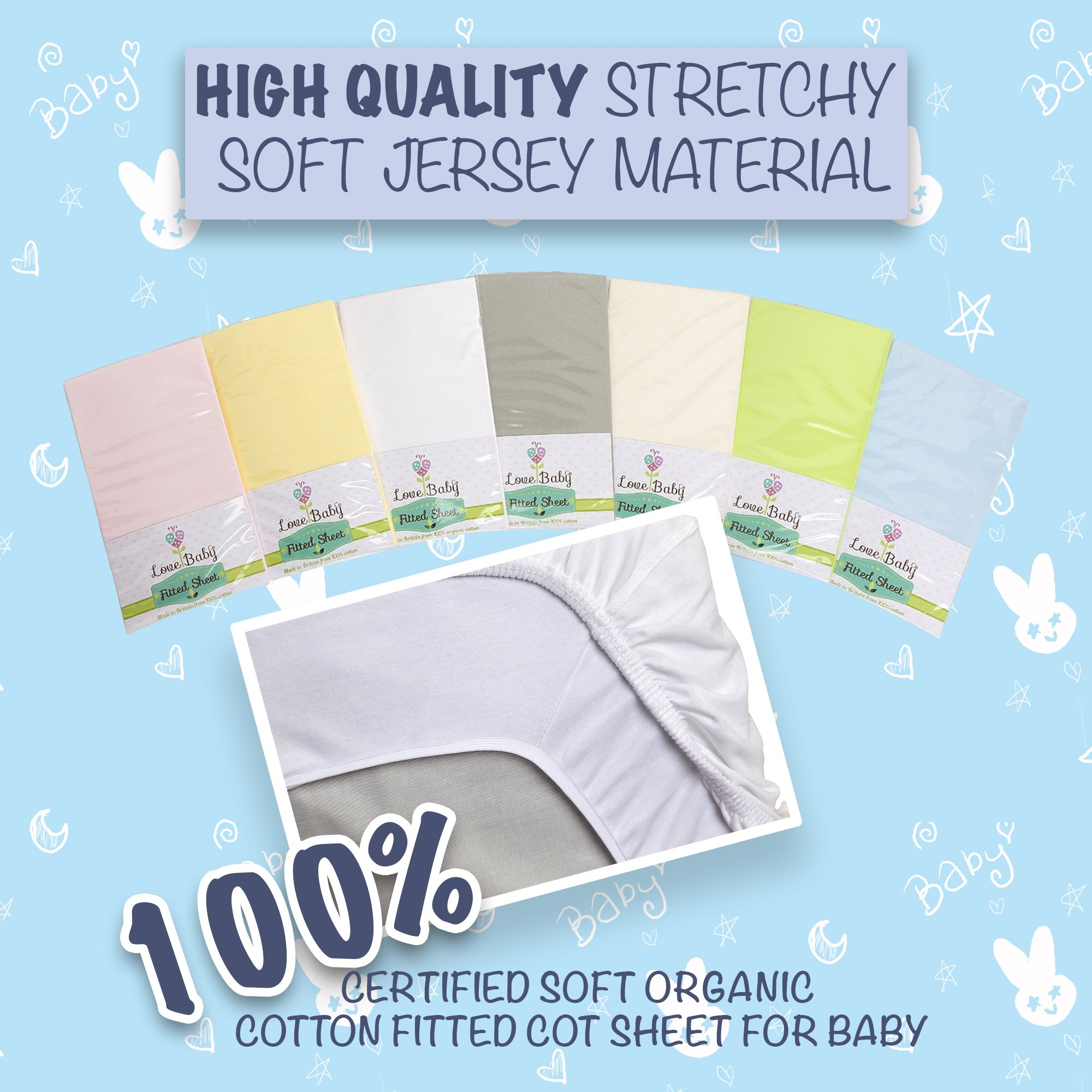 Beanbone 100 Organic Cotton Premium Fitted Cot Sheet