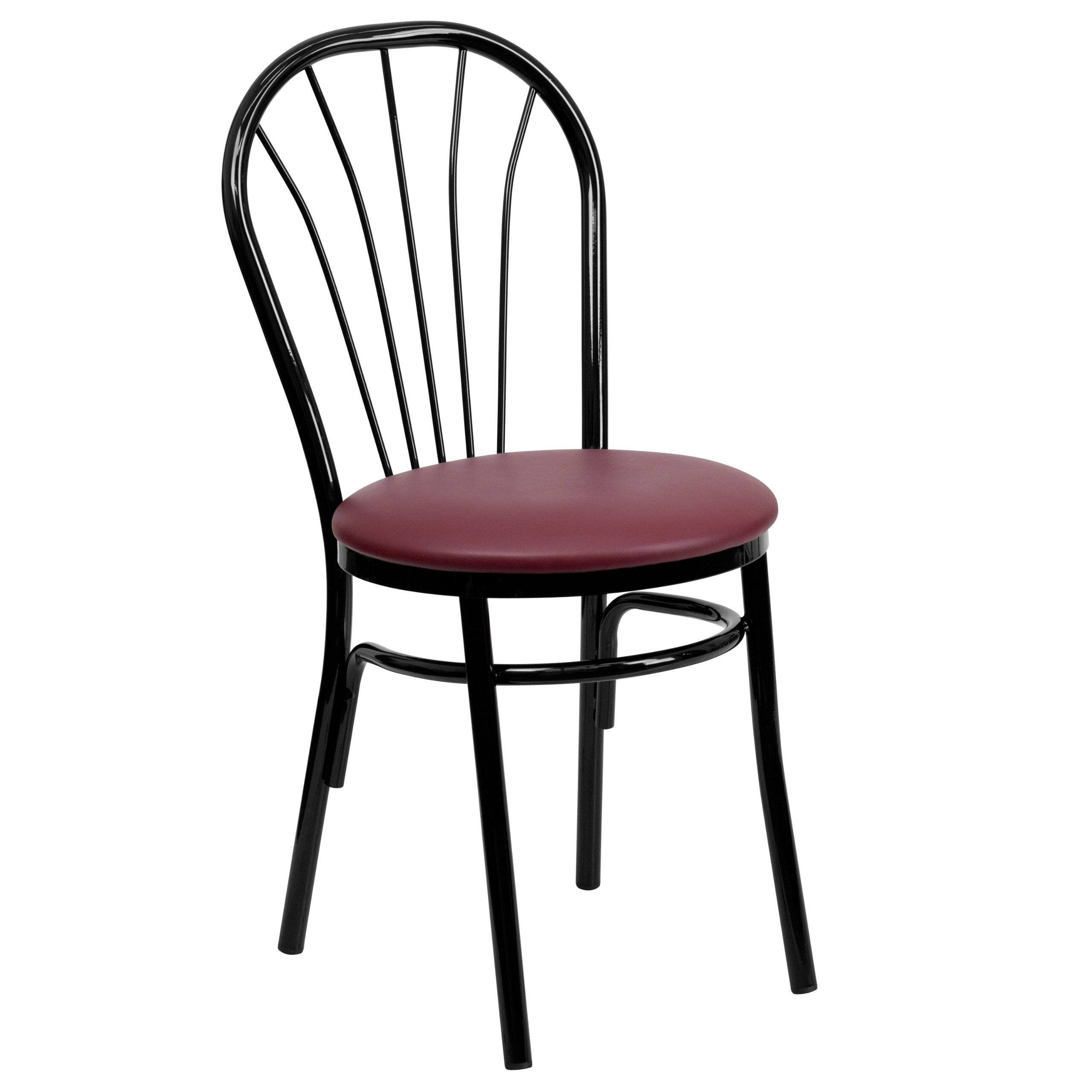 MFO Fan Back Metal Chair - Burgundy Vinyl Seat