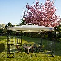 Quictent 10x10 Metal Gazebo Canopy Soft Top Pergola Grill Gazebo for Patio,Garden and Backyard Waterproof Vented Roof (Beige)