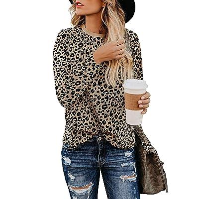 Adibosy Women Leopard Print Shirts Basic Tunics Round Neck Comfy Tops Long Sleeve Fashion Blouse at Amazon Women's Clothing store
