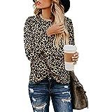Adibosy Women Leopard Print Shirts Basic Tunics Round Neck Comfy Tops Long Sleeve Fashion Blouse