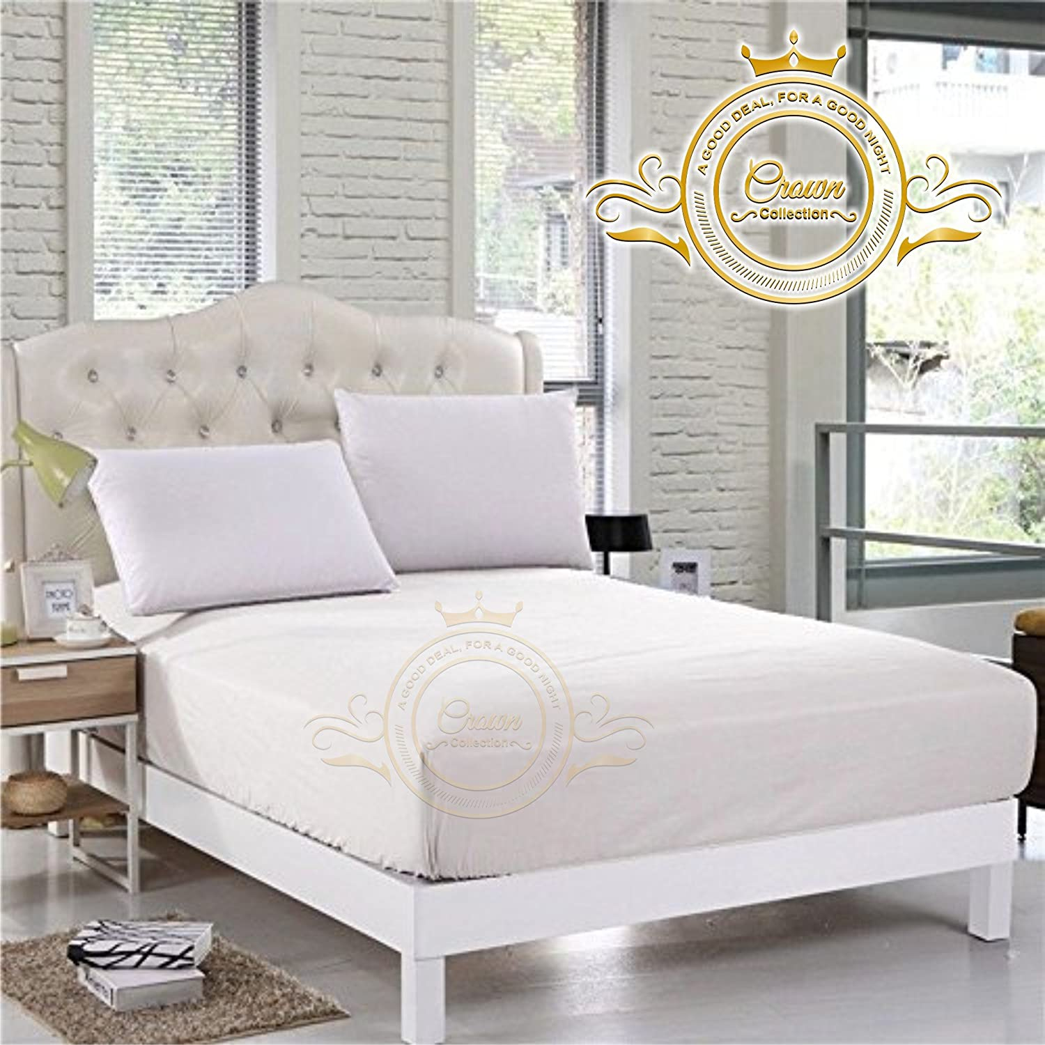 Crown Royal Hotel Collection Beddings 750 Thread Count Egyptian Cotton Fitted Sheet King Size 14 Inch Deep Pocket White Solid Export Quality