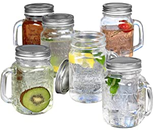 Estilo Mason Jar Mugs with Handles Old Fashioned Drinking Glass Set 6, 16 oz Each