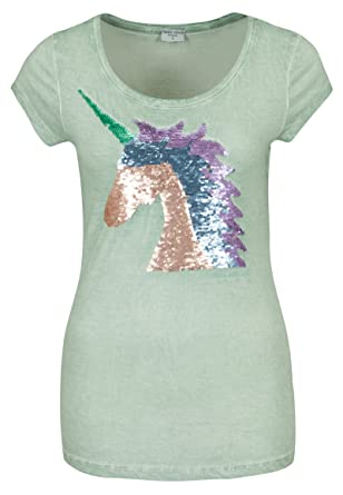 3fcfd2e286e817 Fresh Made Damen Unicorn T-Shirt mit Wendepailletten