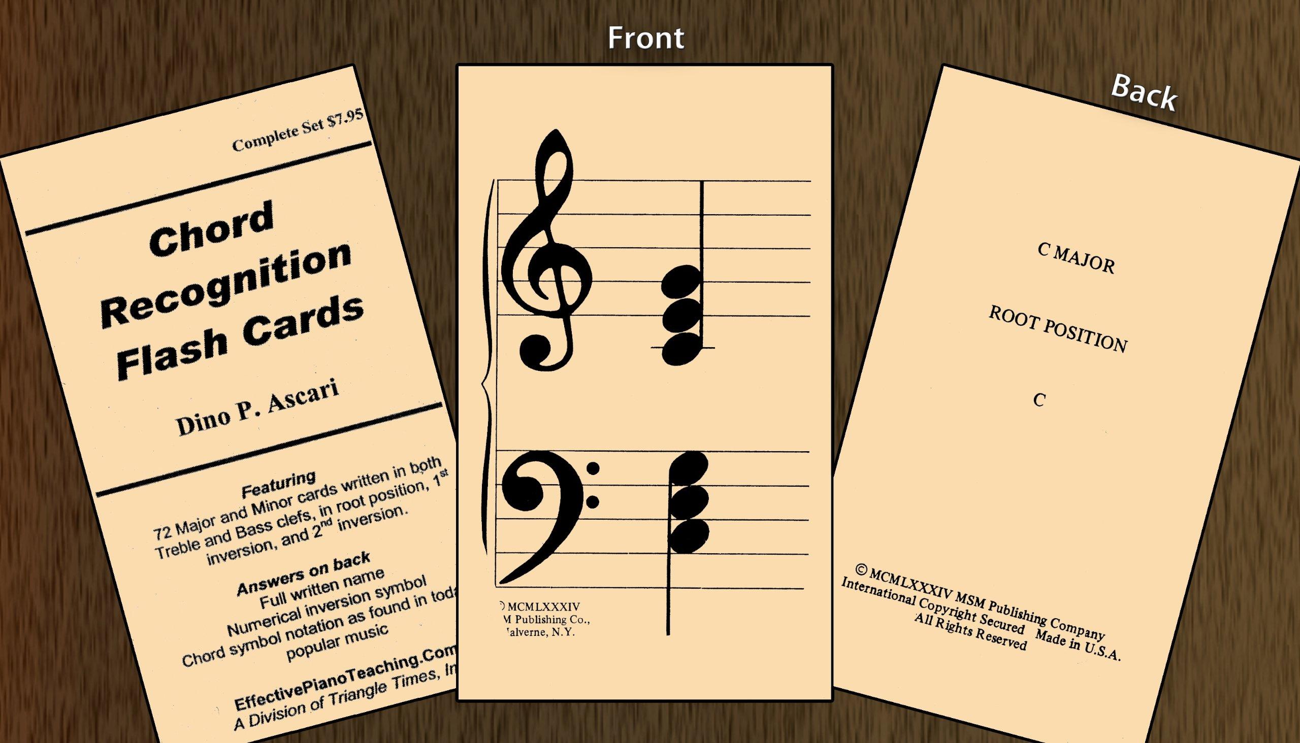 Chord Recognition Flashcards- 72 Major/Minor Cards: Dino P  Ascari