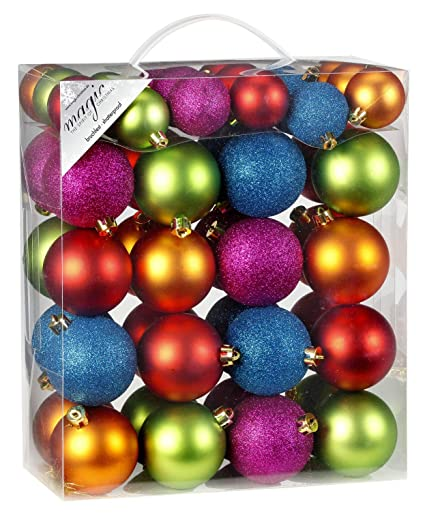 Bunte Christbaumkugeln Shop.50 Christmas Tree Baubles Mille Fiori Mix 4 And 6 Cm Pvc Box