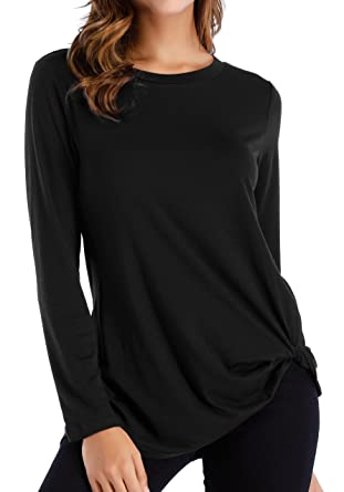 a24009c7d6dc OYANUS Womens Tops Long Sleeve Twist Knot Blouses Basic T Shirt Tops Black S