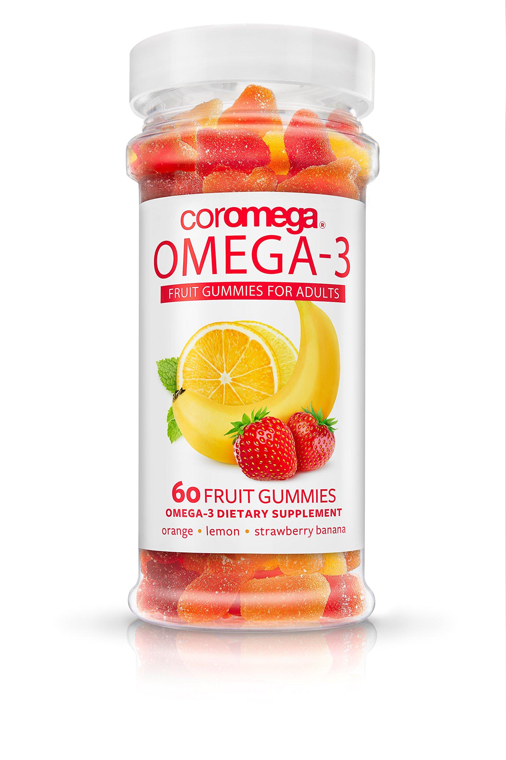 Coromega Omega-3 Fish Oil Adult Gummy Fruits, DHA and EPA, Assorted Fruit Flavors, 60-Count