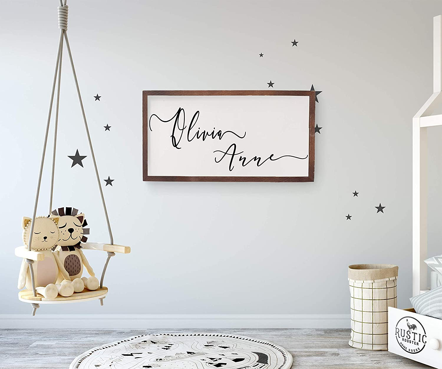 Amazon.com: Nursery name sign,custom wooden name sign for baby