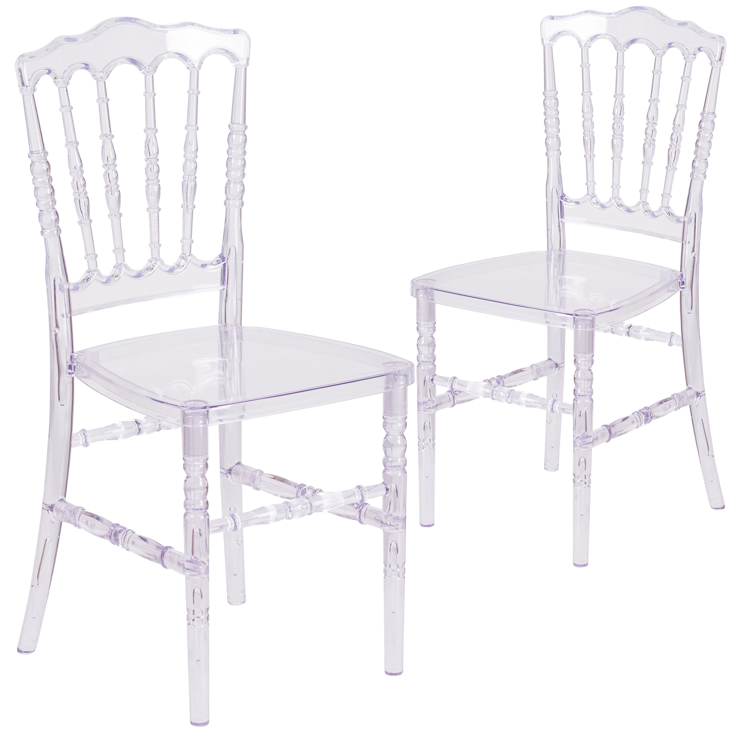 Flash Furniture 2 Pk. Flash Elegance Crystal Ice Napoleon Stacking Chair by Flash Furniture