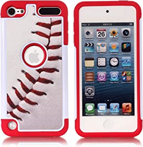Apple iPod Touch 6th Case, iPod Touch 7 Cover - Baseball Sports Pattern Shockproof Hard PC and Inner Silicone Hybrid Dual Layer Armor Defender Case for Apple iPod Touch 5 6th, iPod Touch 7
