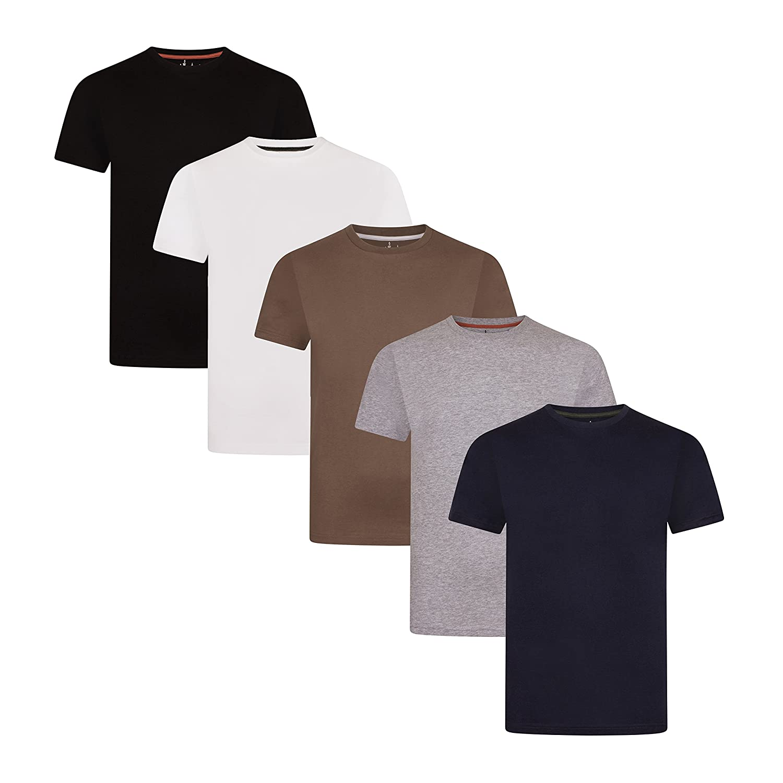 FM London 5-Pack Men's Plain T-Shirt with HyFresh Odour Protection Technology