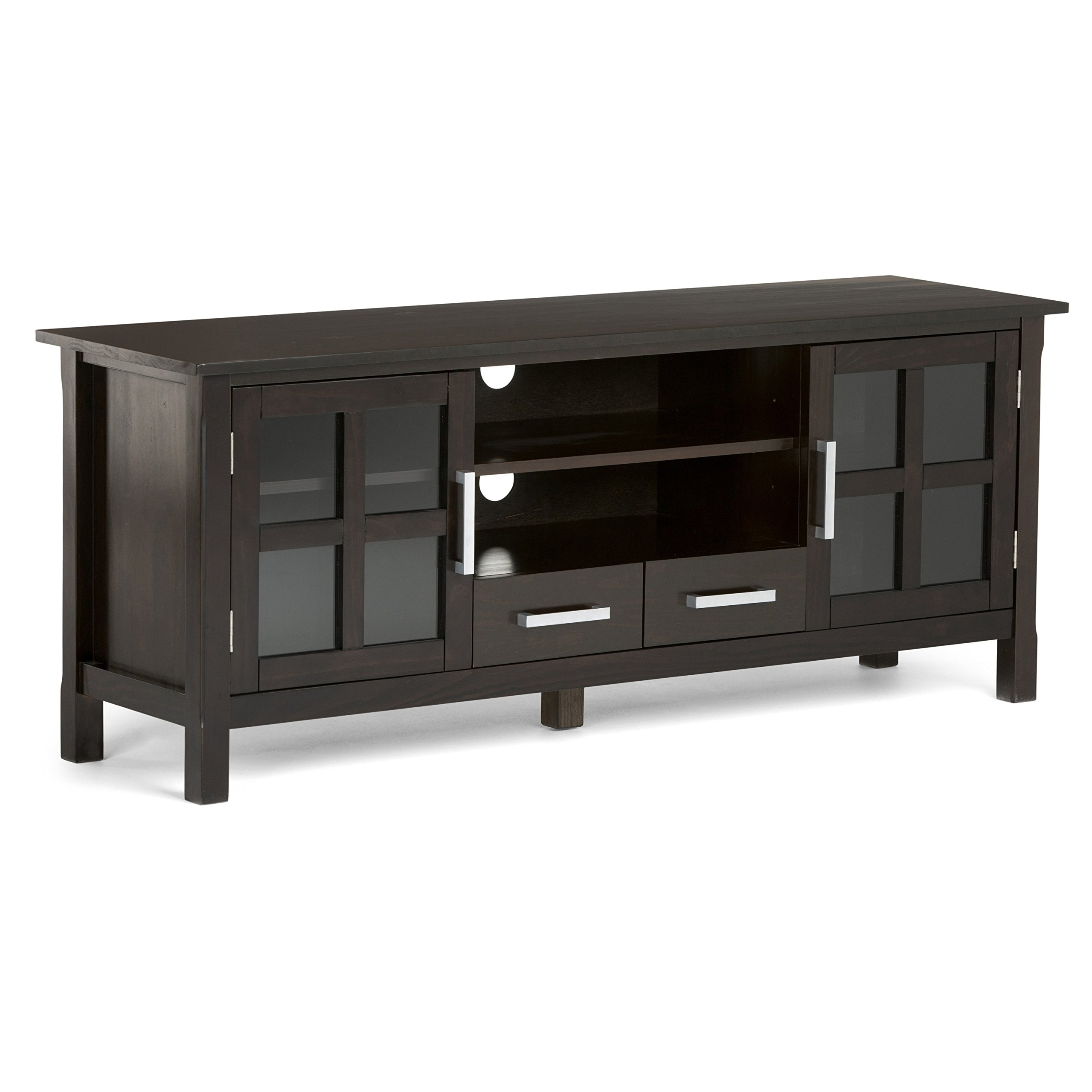Simpli Home Kitchener TV Media Stand for TVs up to 66'', Dark Walnut Brown