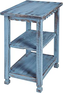 Rustic Cottage End Table with 2 Shelves, Blue Antique