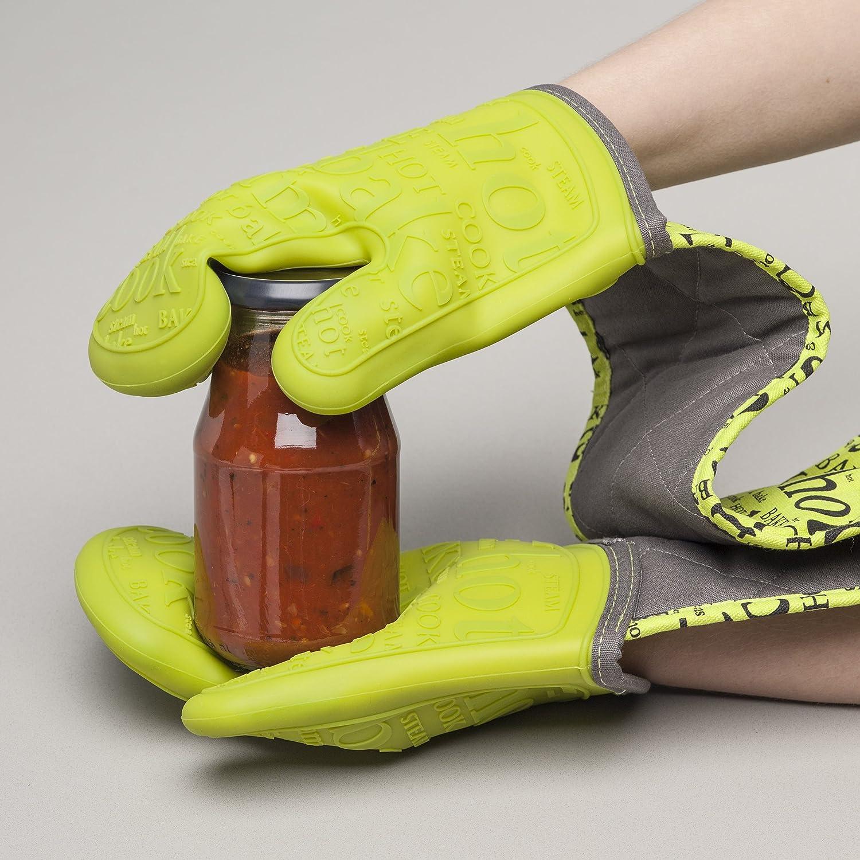 Zeal Guanto Doppio da Forno 26 x 19 x 26 cm Cotone Rosso in Silicone Resistente