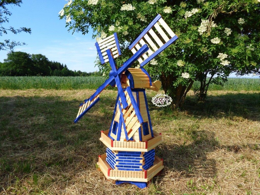 WMH-130-OS Windmühle zweistöckig mit 2 x Balkon,windmühle für garten, 1,30 m groß Windmühlen mit / ohne Solarbeleuchtung Holz,SCHINDEL aus massiv Holz, MassivHolz, VollHolz,