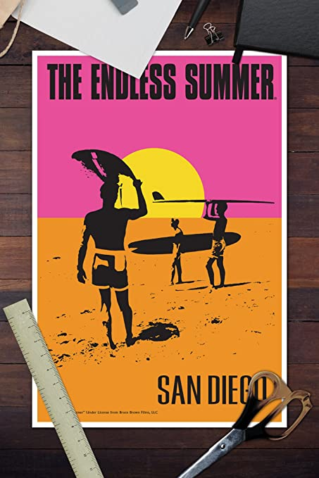 Amazon.com: San Diego, California - The Endless Summer - Original Movie Poster (9x12 Art Print, Wall Decor Travel Poster): Posters & Prints