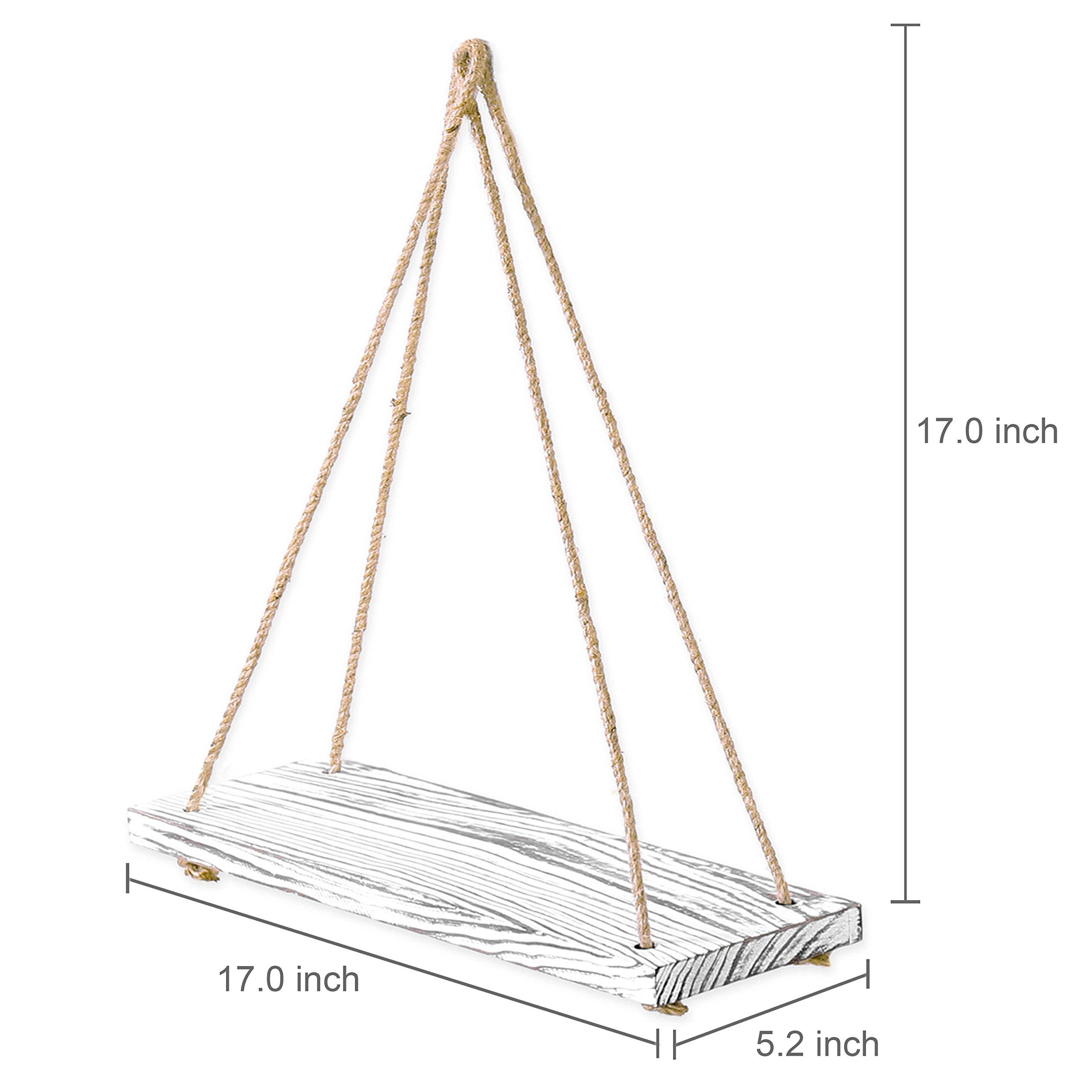 MyGift 17-inch Whitewashed Wood Hanging Rope Swing Shelves, Set of 2 by MyGift (Image #5)