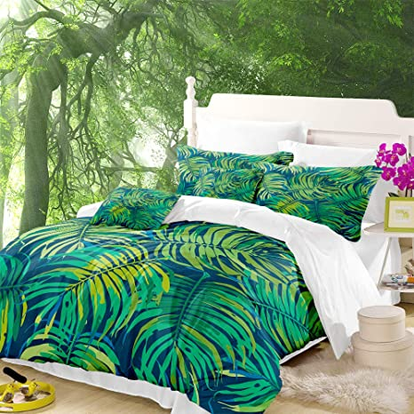 Dark Tropical Floral Leaf Duvet Quilt Cover Bedding Set Pillowcases In All Sizes
