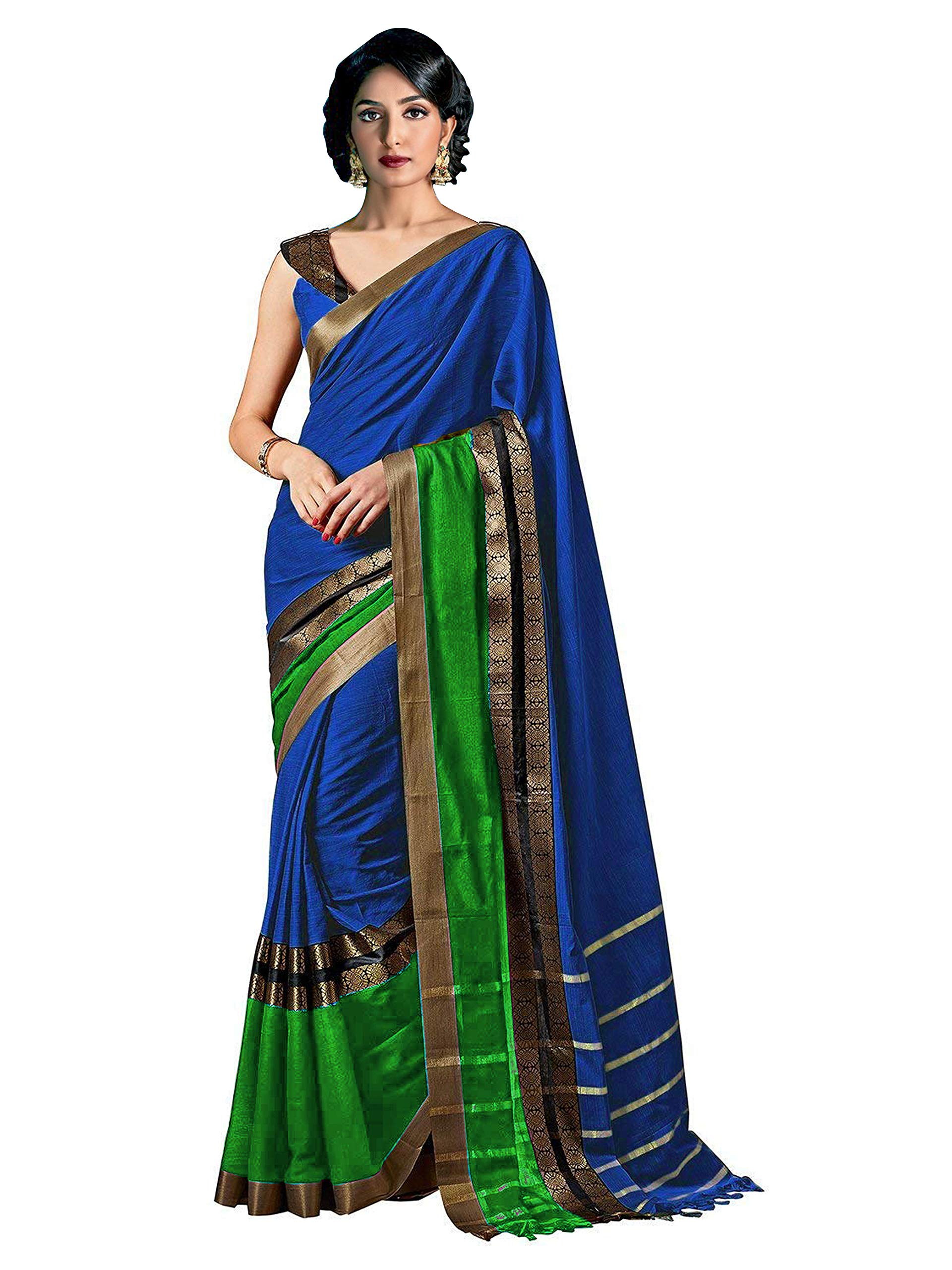 ELINA FASHION Sarees for Women Cotton Silk Woven Saree l Indian Wedding Gift Sari with Unstitched Blouse