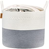 Lyricalife Woven Storage Basket Tall Laundry Hamper with Generously Sized Handles Large Pure Cotton Organizer 16x15x15inches Kids Toy Nursery Laundry Basket