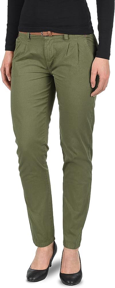 Desires Jacqueline Pantalón Chino Pantalón De Tela para Mujer con Cinturón De 100% Algodón Slim-Fit, tamaño:34, Color:Ivy Green (3797): Amazon.es: Ropa y accesorios