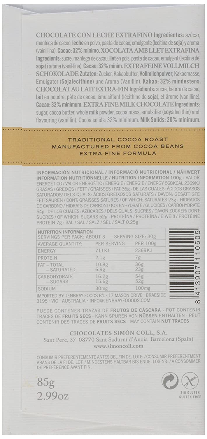 Amazon.com : Simon Coll 32% Con Leche Bar Paperwrap, 2.99 oz : Grocery & Gourmet Food