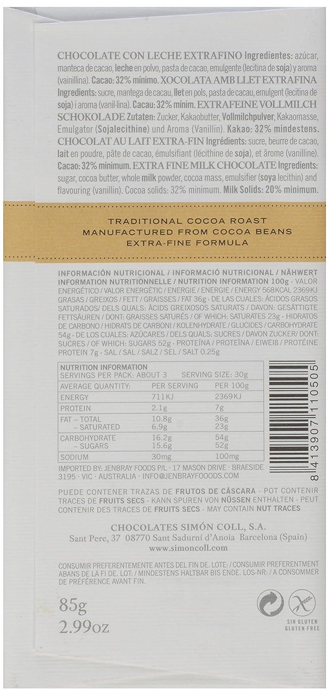 Amazon.com : Simon Coll 32% Con Leche Bar Paperwrap, 2.99 oz : Grocery & Gourmet Food