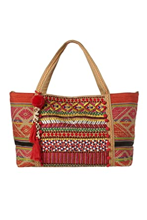 Amazon.com | America & Beyond Embellished Tote Beach Bag Multi One ...