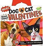 Peaceable Kingdom Wacky Dog & Cat Flicker Sticker 28 Card Super Valentines Pack