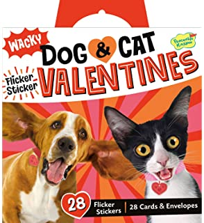 Peaceable Kingdom Wacky Dog U0026 Cat Flicker Sticker 28 Card Super Valentines  Pack