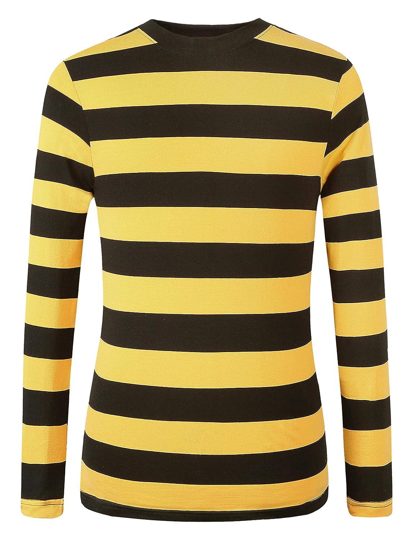 31de9198cd464c SSLR Men s Cotton Crew Neck Casual Long Sleeves Stripe T-Shirt SN ...