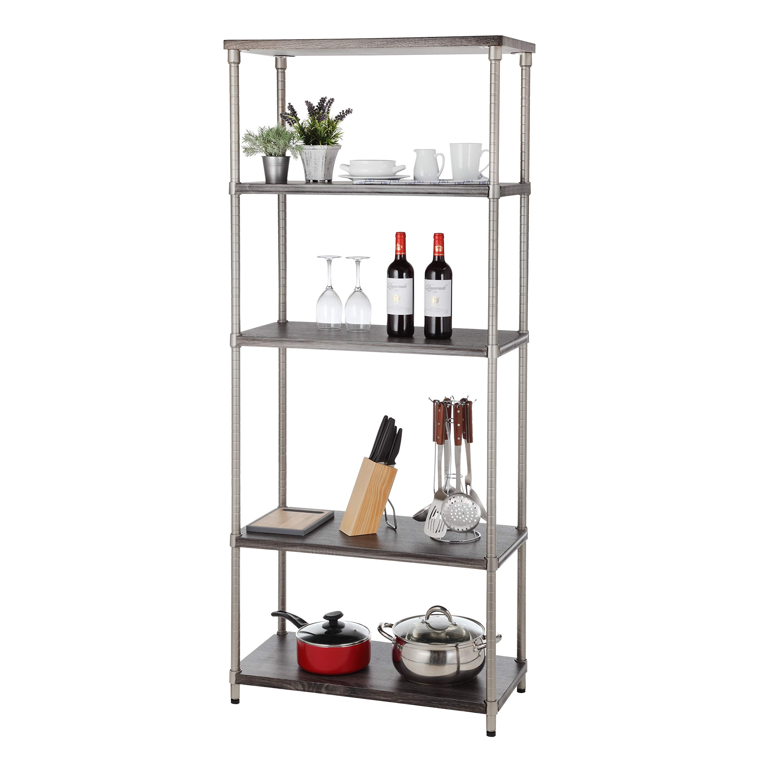 Home Zone Bookcase Storage Rack with 5-Tier Wide Shelving Unit     Steel and Wood with Satin Nickel Finish,