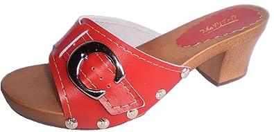 'Marited' Rot Damen Holz Leder Clogs Pantolette Sandalette Gr 36 37 38 39 40 41 (36) Uiuff8O