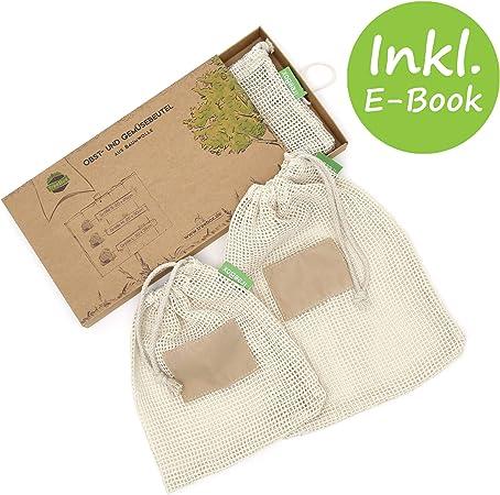 TreeBox - Bolsa premium para fruta y verdura de algodón en un juego de 3 unidades - La bolsa de la compra ecológica - Con indicación sobre el peso - Reutilizable y lavable: Amazon.es: Hogar