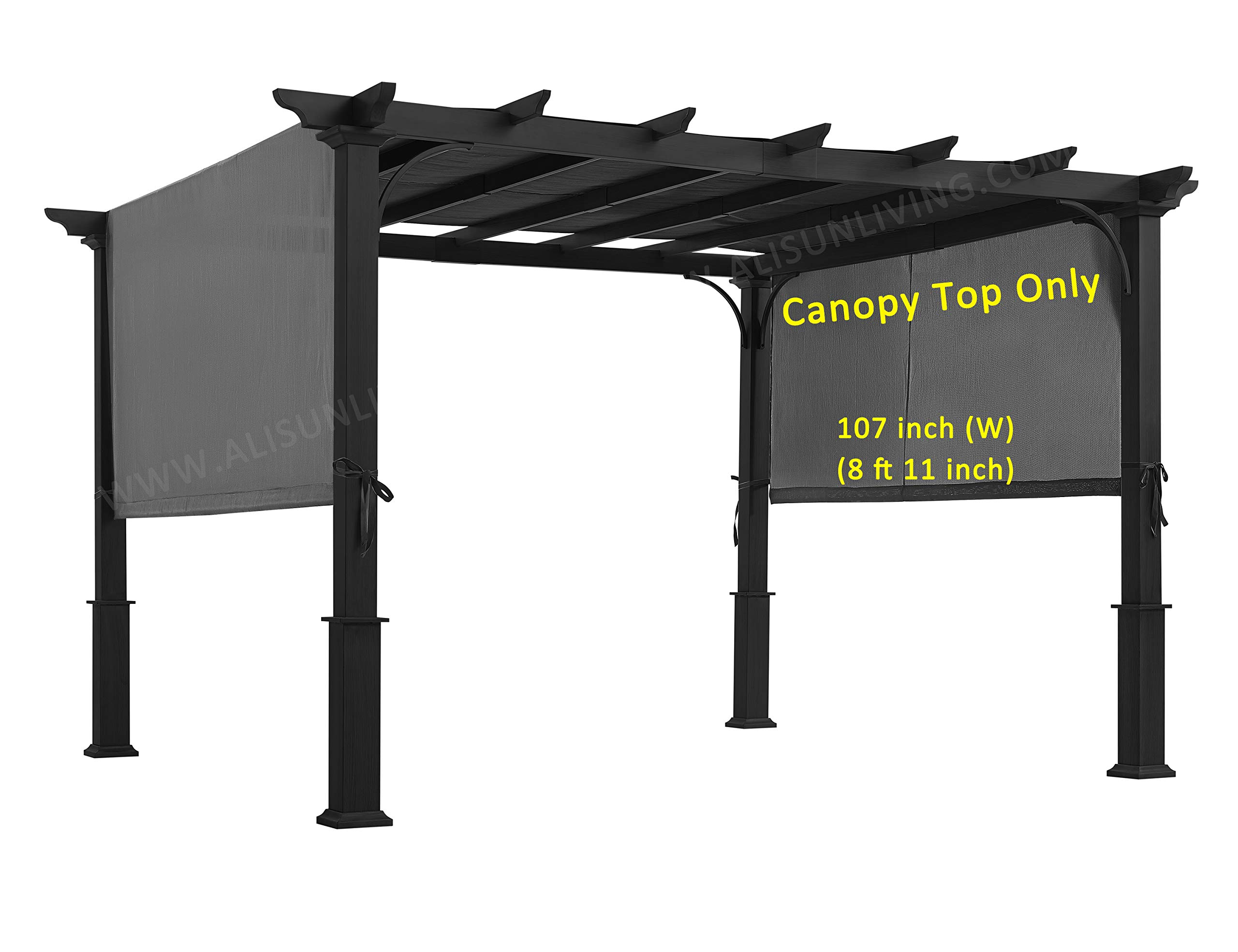 ALISUN Sling Canopy (with Ties) for 10 FT Pergola #S-J-110 & TP15-048C (Charcoal)