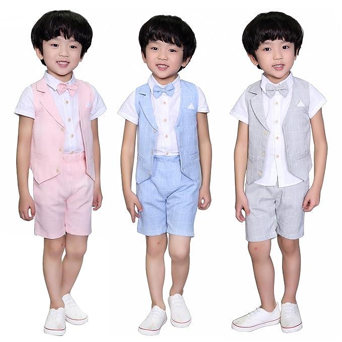DREAMOWL Traje - para niño Boda de verano mixta de algodón/lino Mezcla de chaleco Corto niño trajes de página, chaleco: Amazon.es: Ropa y accesorios