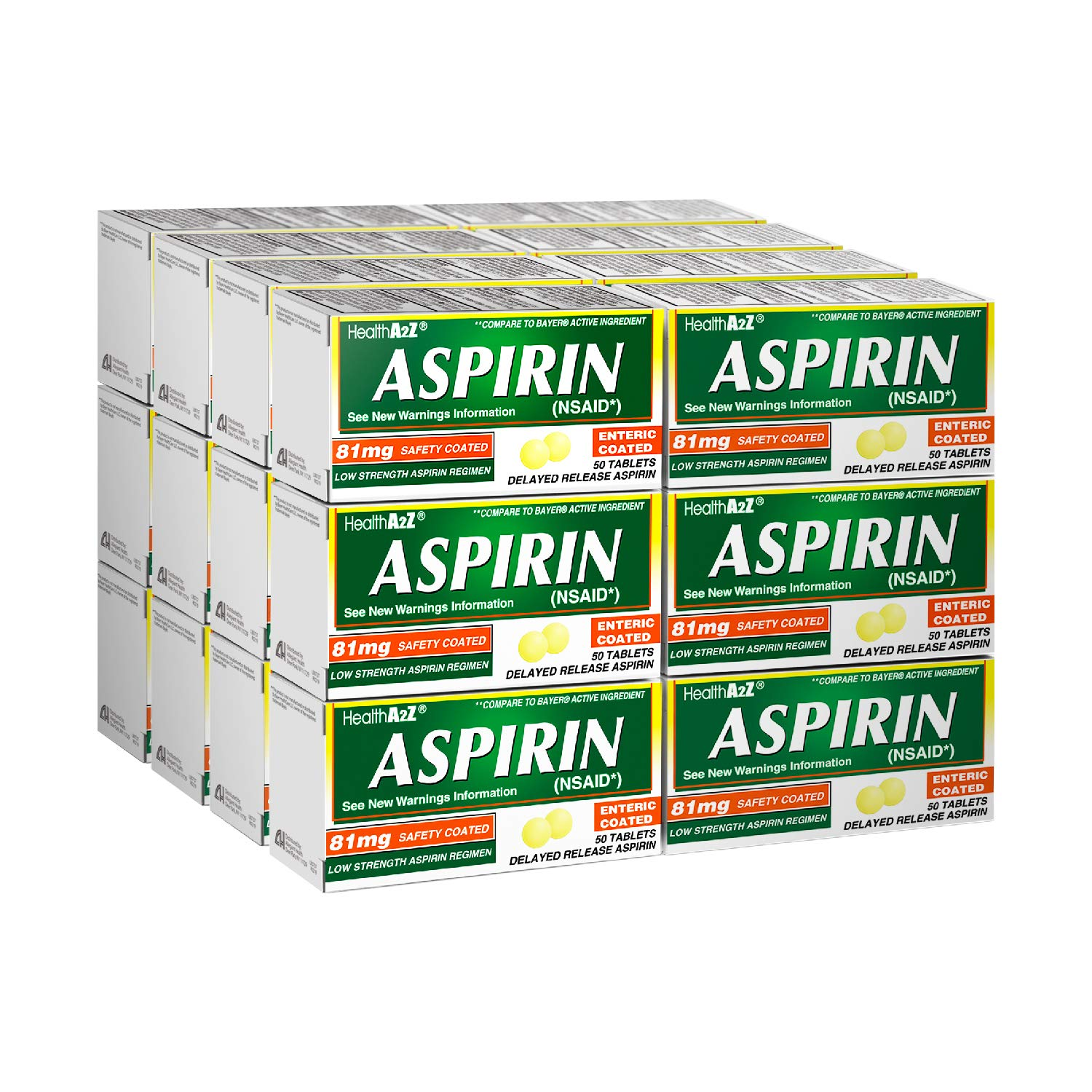 HealthA2Z Aspirin 81mg Low Strength, Enteric Coated, 24x50 Counts, Value Package by HealthA2Z