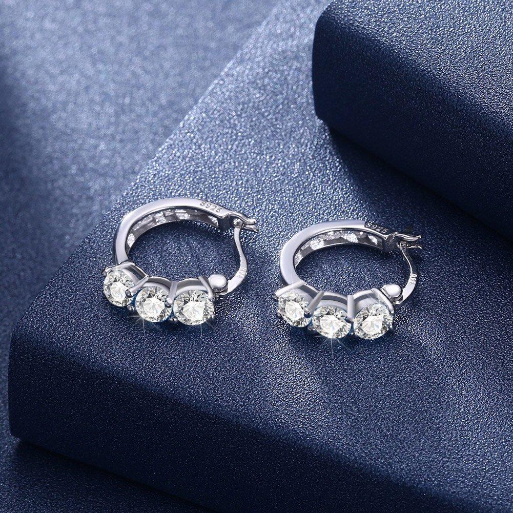 Essential Style Dtja 3 CZ Crystal Round Hoop Earrings for Women Girls S925 Sterling Silver Shiny Diamond Ladies Jewelry Elegant Birthday Christmas Wedding Huggie Stud