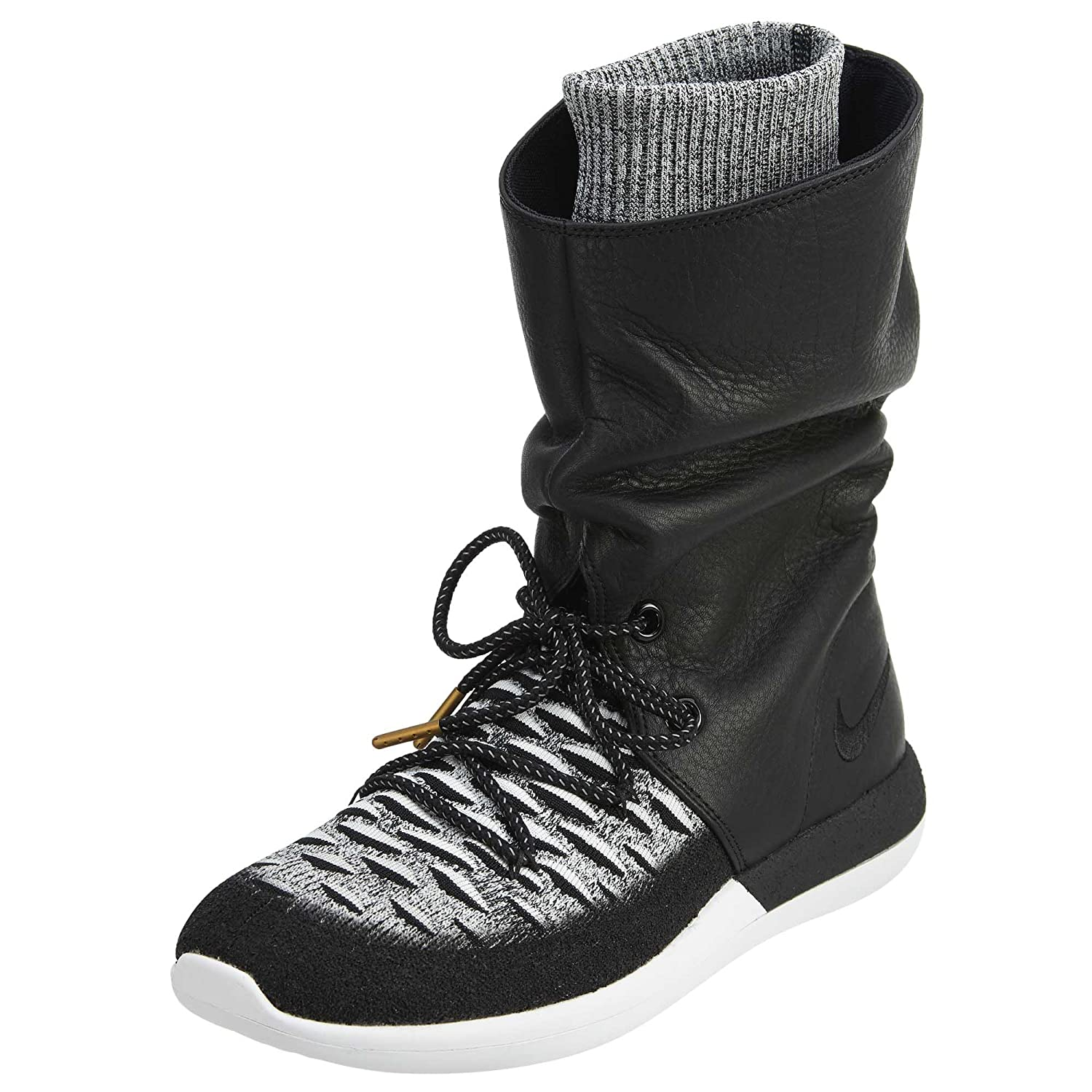 NIKE Womens Roshe Two Hi Flyknit Trainers 861708 Sneakers Boots B01M8HUYQW 5 B(M) US|Black/Black-white
