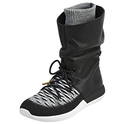 NIKE Women's W Roshe Two Hi Flyknit, Black/Black-White, ...