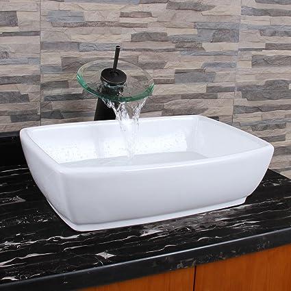 ELITE Unique Rectangle Shape White Porcelain Ceramic Bathroom Vessel Sink U0026  Oil Rubbed Bronze Waterfall Faucet