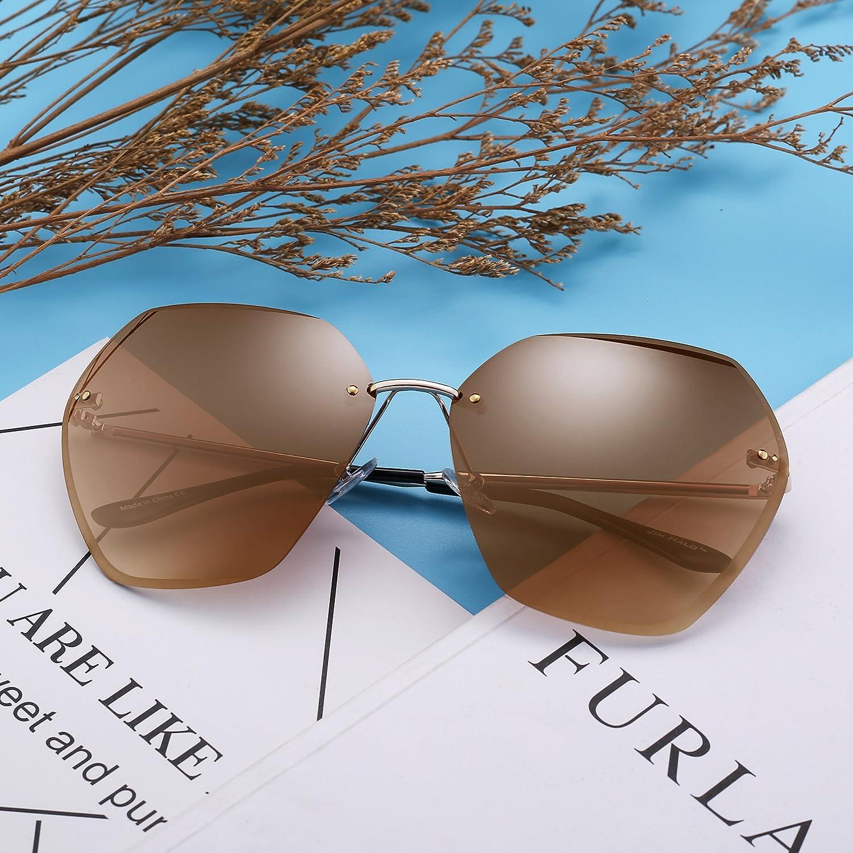 bd0fa93570 JIM HALO Gafas de Sol Sin Marco Gradiente Cuadrado Claro Anteojos Mujer(Plateado/Gradiente  Marrón): Amazon.es: Ropa y accesorios
