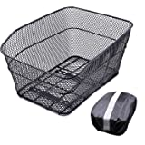 ANZOME Rear Bike Basket – Metal Wire Bicycle Cargo Rack Mount for Back Under Seat with Heavy Duty Reflective Black Waterproof