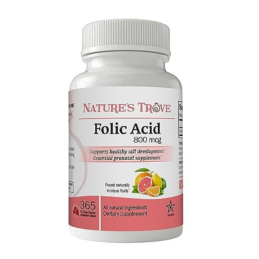 Folic Acid 800 mcg (B9 Vitamin) by Nature's Trove - 365 EZ Chew Tablets Strawberry Flavor