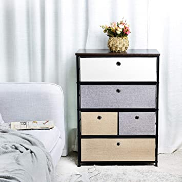 Bedroom Easy Pull Fabric Bins for Living Room Hallway Entryway-6Drawers Wooden Tabletop Fabric Clothing Storage Drawers Dresser Organizer Unit with Sturdy Steel Frame